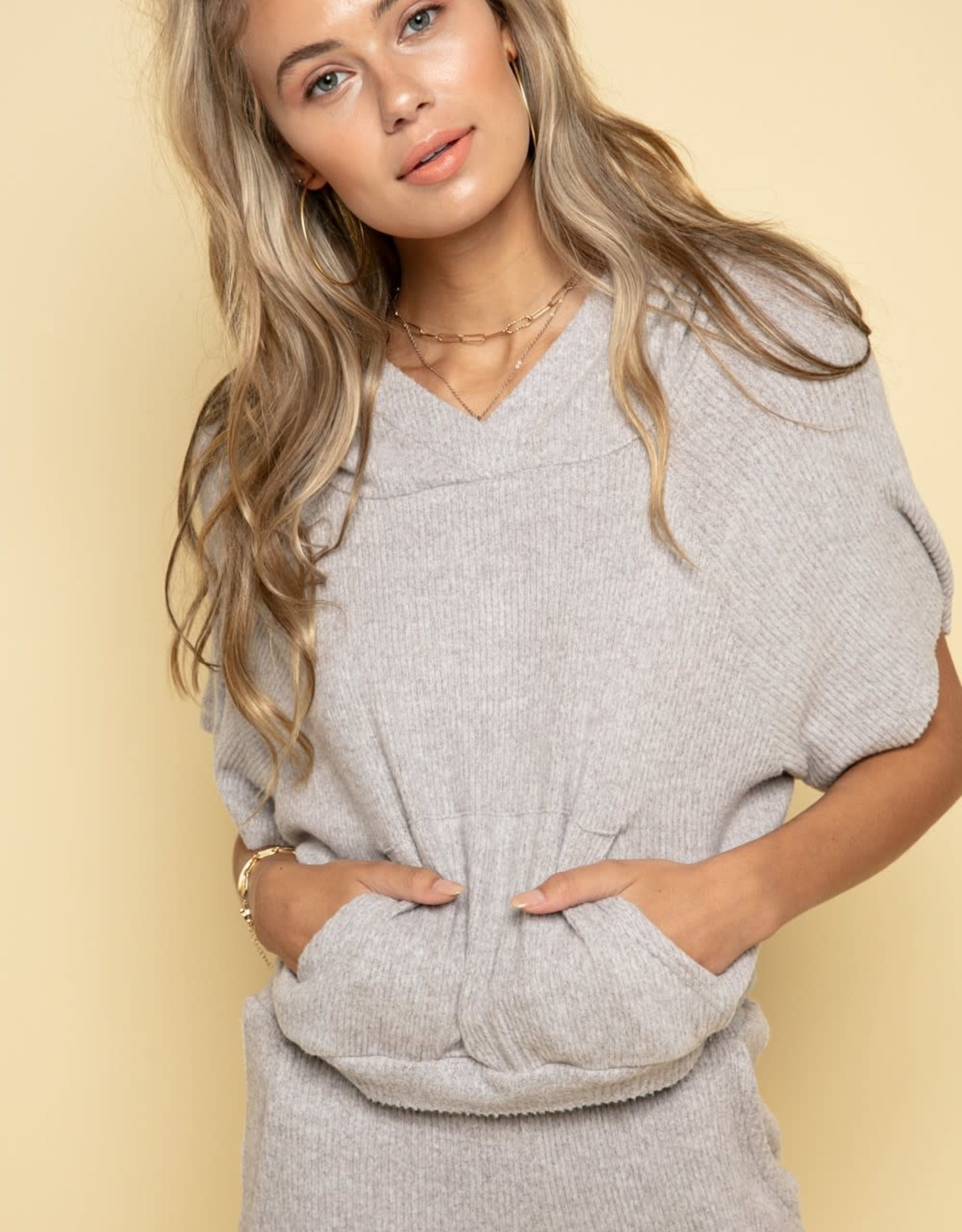 Miss Bliss SS Ribbed hoodie Top- H.Grey