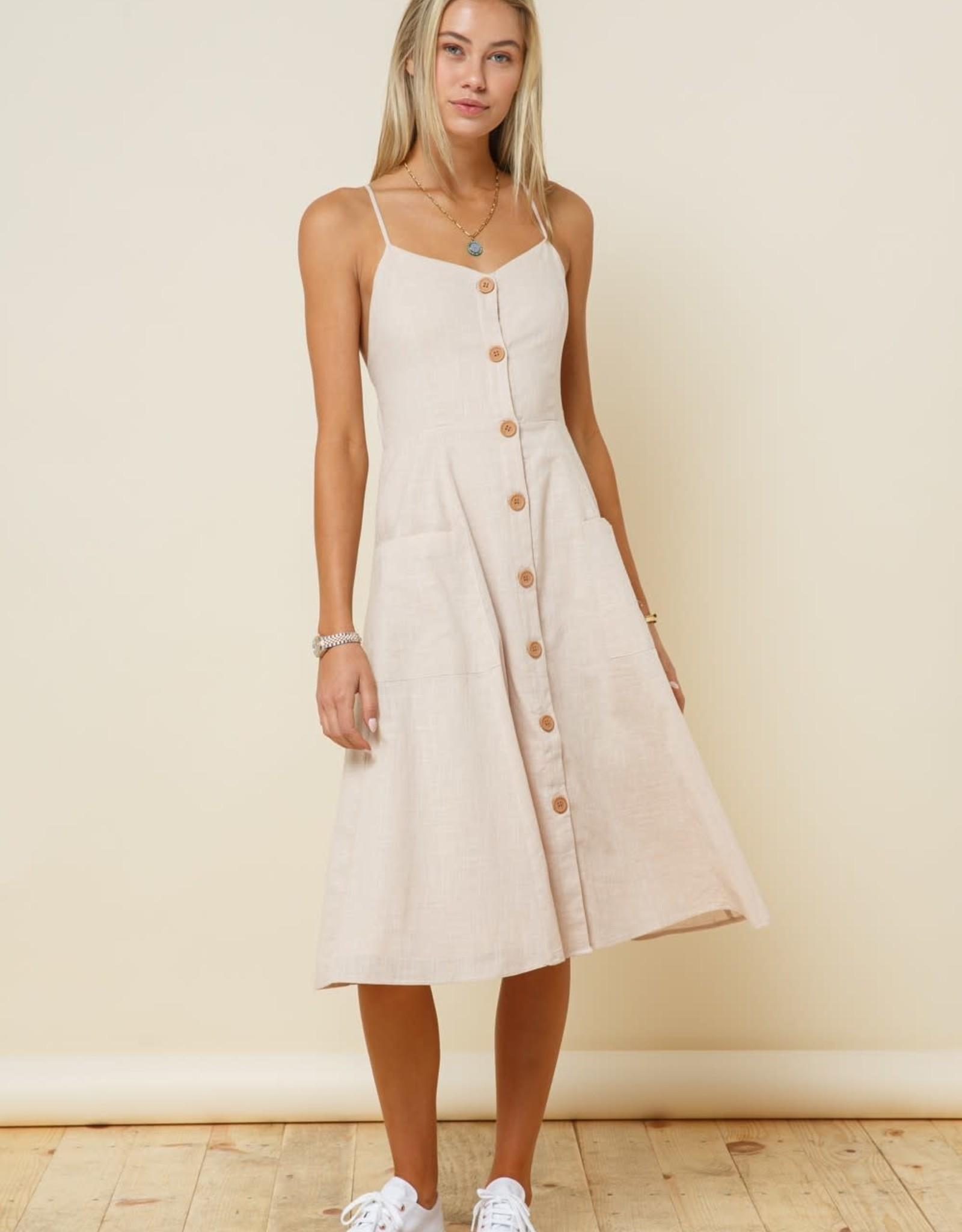 Miss Bliss Button Down Linen Dress- Oatmeal