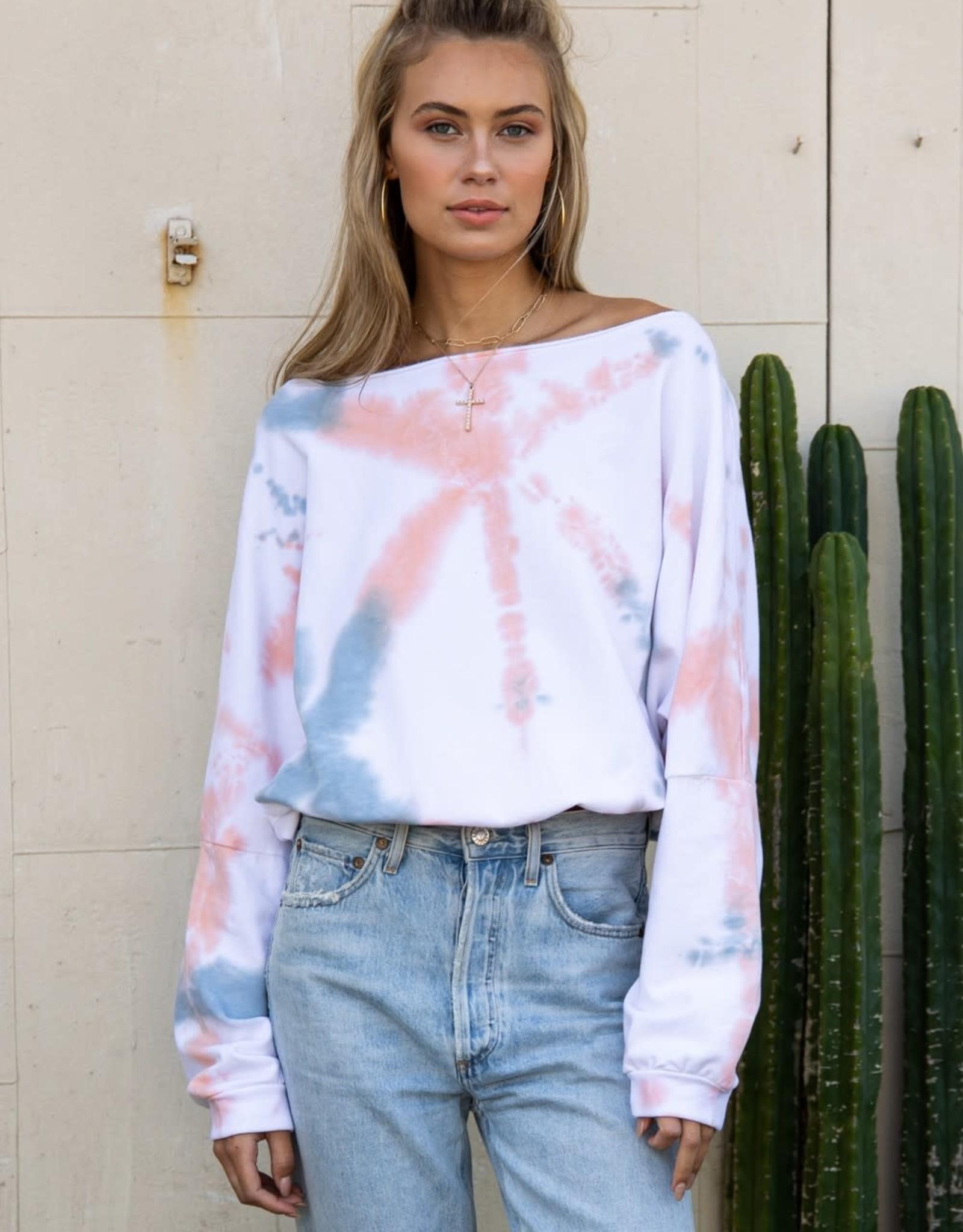 Miss Bliss LS Tye Dye Off Shoulder Sweater- Multi