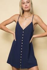 Miss Bliss Spaghetti Strap Button Down Mini Dress- Navy