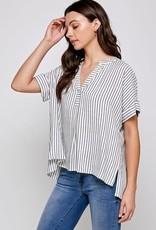 Miss Bliss SS Striped V Neck Top-Black/White