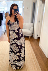 Miss Bliss Floral Print Maxi Dress- Navy