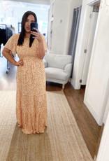 Miss Bliss Floral Print SS Maxi Dress- Marigold
