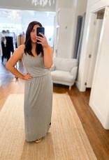 Miss Bliss Solid Knit Slvls Maxi Dress- H.Grey