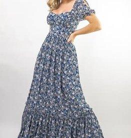 Miss Bliss Floral Print Maxi Dress- Blue