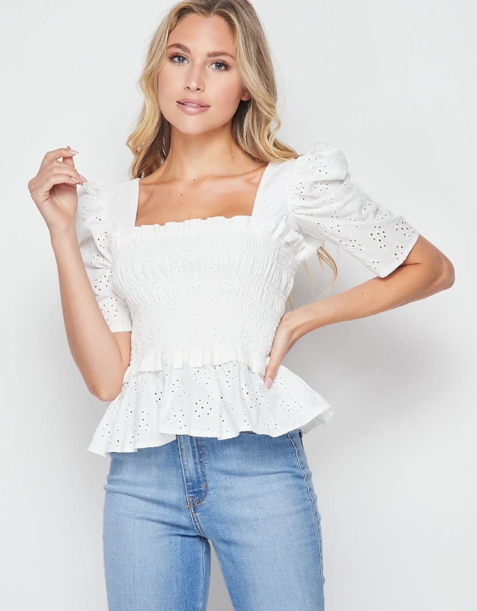 Miss Bliss Smocking Top with Puff Top