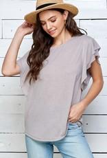 Miss Bliss Solid Ruffle Short Sleeve Top- Mocha Grey