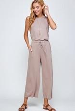 Miss Bliss Wide leg cropped jumpsuit - Mocha