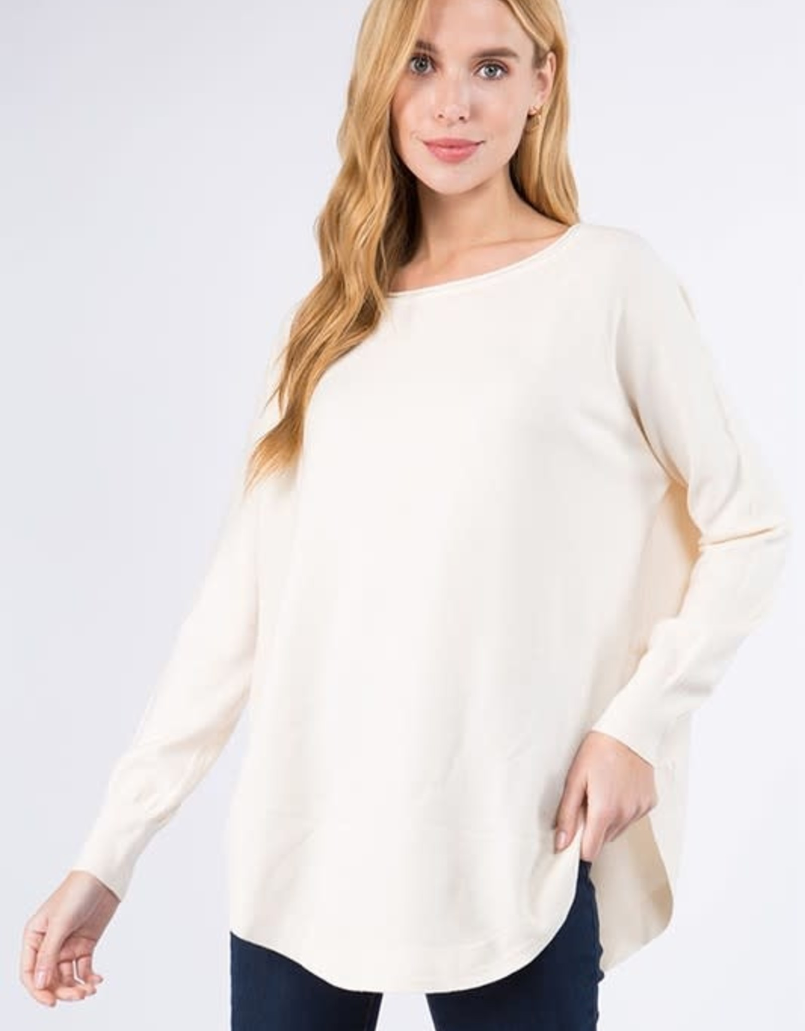 Miss Bliss Boat Neck Sweater w/ Scoop Hem- Natural