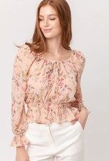 Miss Bliss Floral Print LS Front Tie Top- Blush