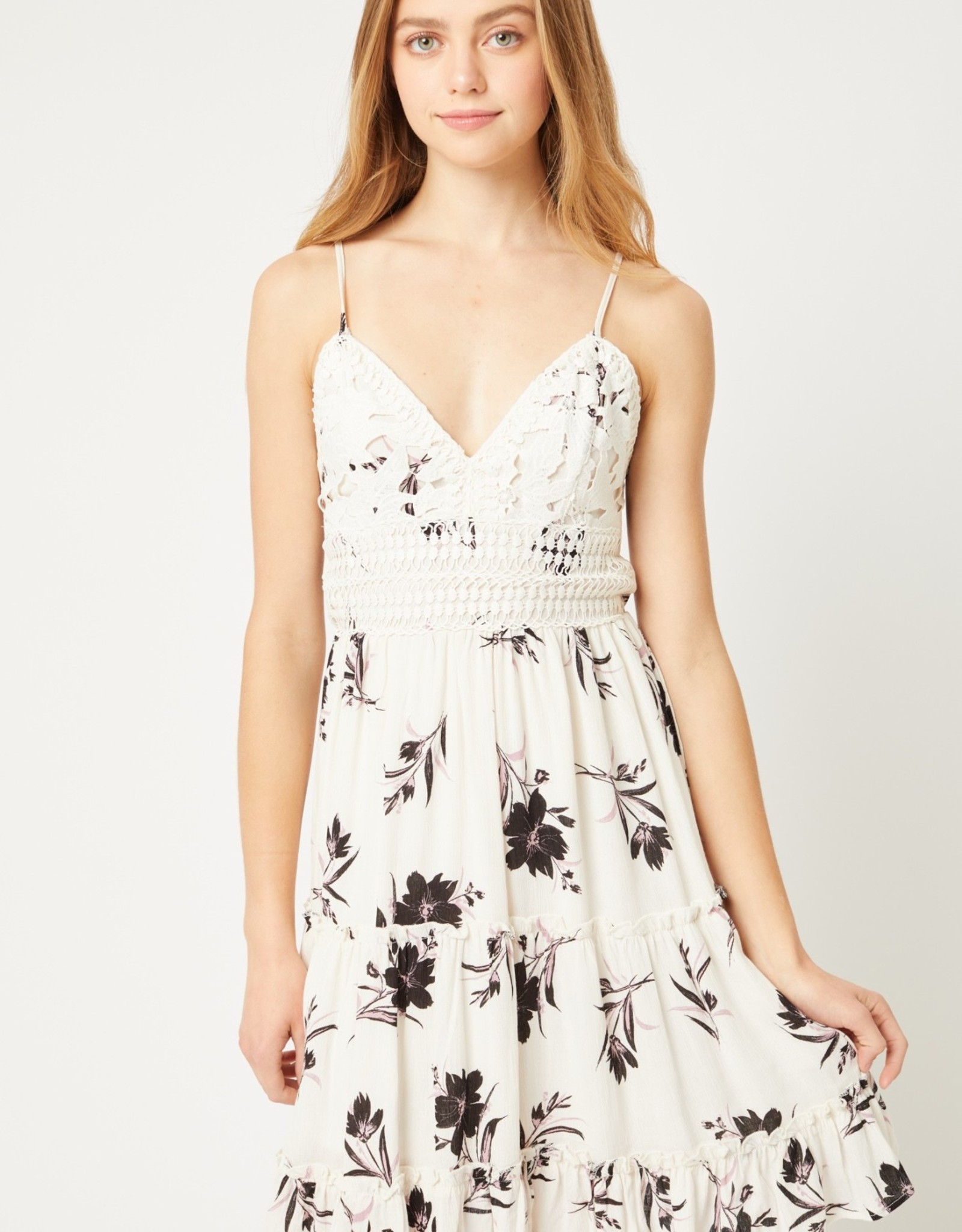 Miss Bliss Floral Lace Tank Dress- Ivory