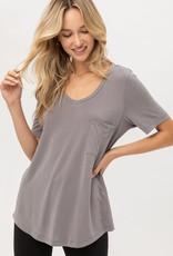 Miss Bliss Jersey Basic V Neck Top- Grey