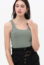 Miss Bliss Slvls Scoop Neck Tank Top- Olive Stone