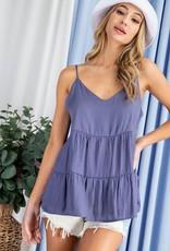 Miss Bliss Tiered V Neck Tank Top- Blue Violet
