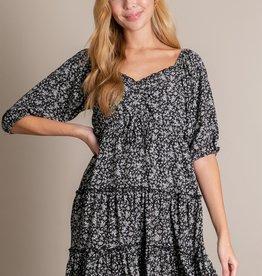 Miss Bliss Tiered Floral Print Dress- Black