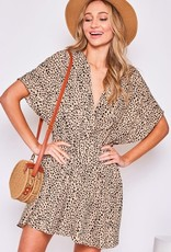 Miss Bliss Animal Print Surplice Dress- Taupe