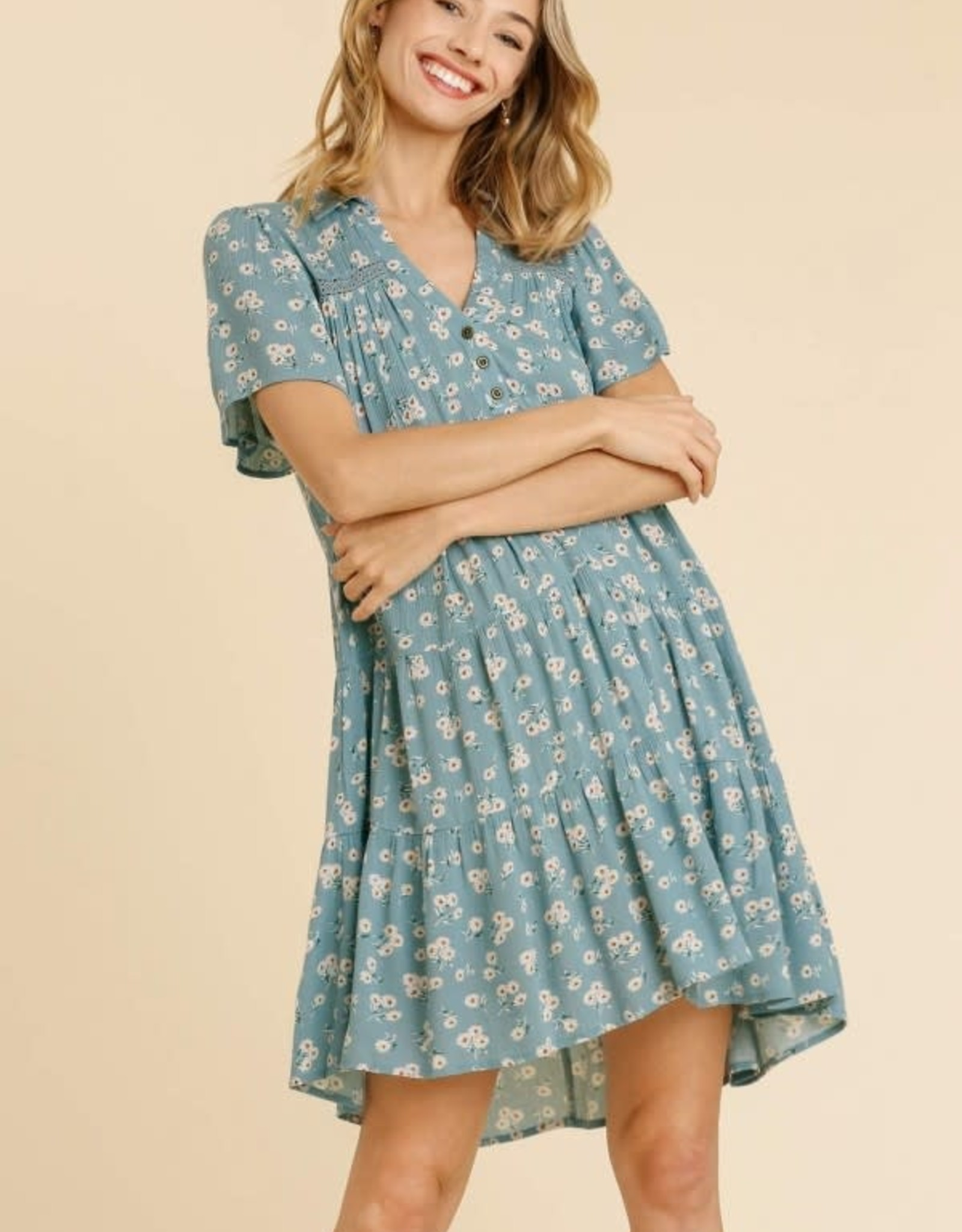 Miss Bliss Floral Print Collar Tiered Dress- Sky