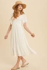 Miss Bliss Flutter Sleeve Midi Dress- Off White