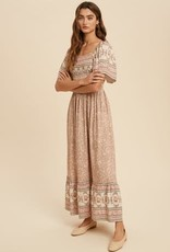 Miss Bliss Floral Boho Maxi Dress- Multi
