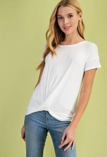 Miss Bliss Front Twist T Shirt- Off White