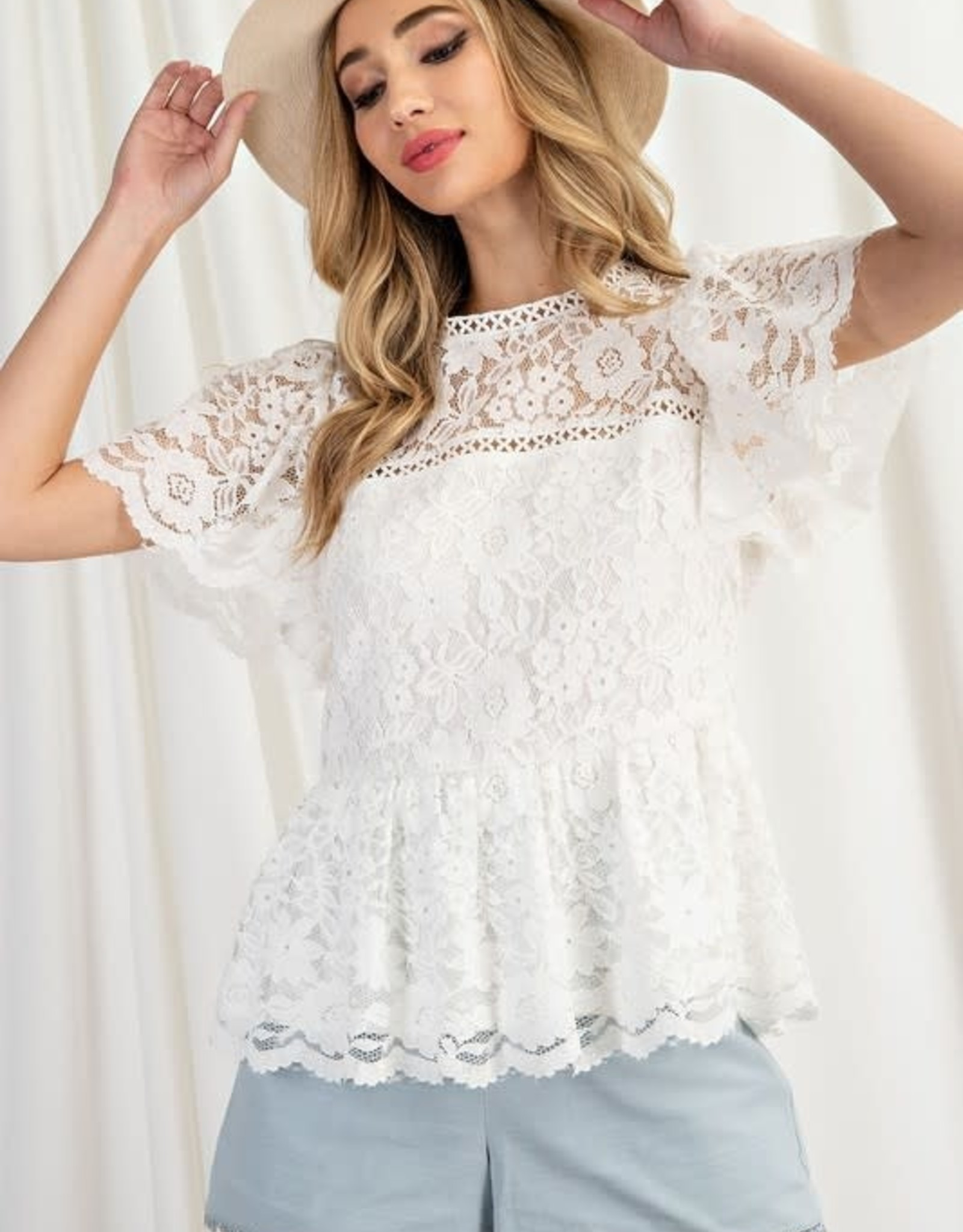 Miss Bliss Lace Peplum Top- Off White