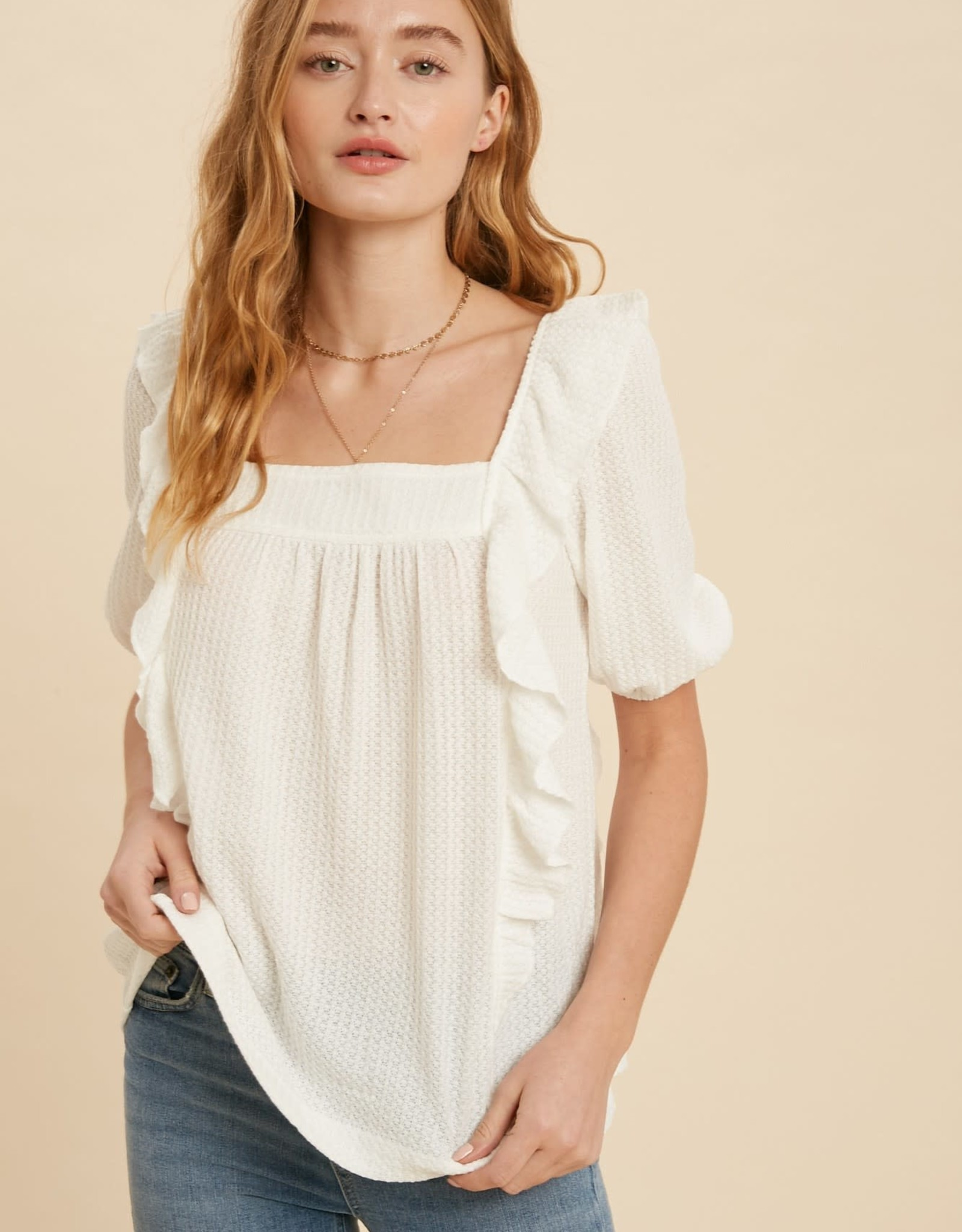 Miss Bliss Lovely Square Neck Waffle Knit Top-Off White