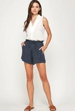 Miss Bliss Printed Drawstring Shorts- Navy