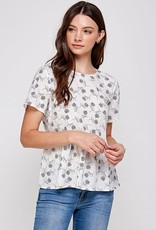 Miss Bliss Floral Print Back Button Detail SS Top- White