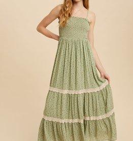 Miss Bliss Smocked Spagetti Strap Maxi Dress- Green Tea