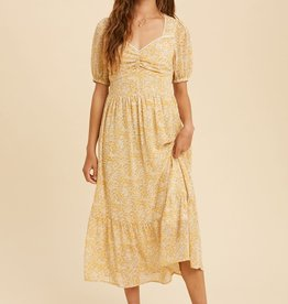 Miss Bliss Ruched Printed SS Dress- Lemon