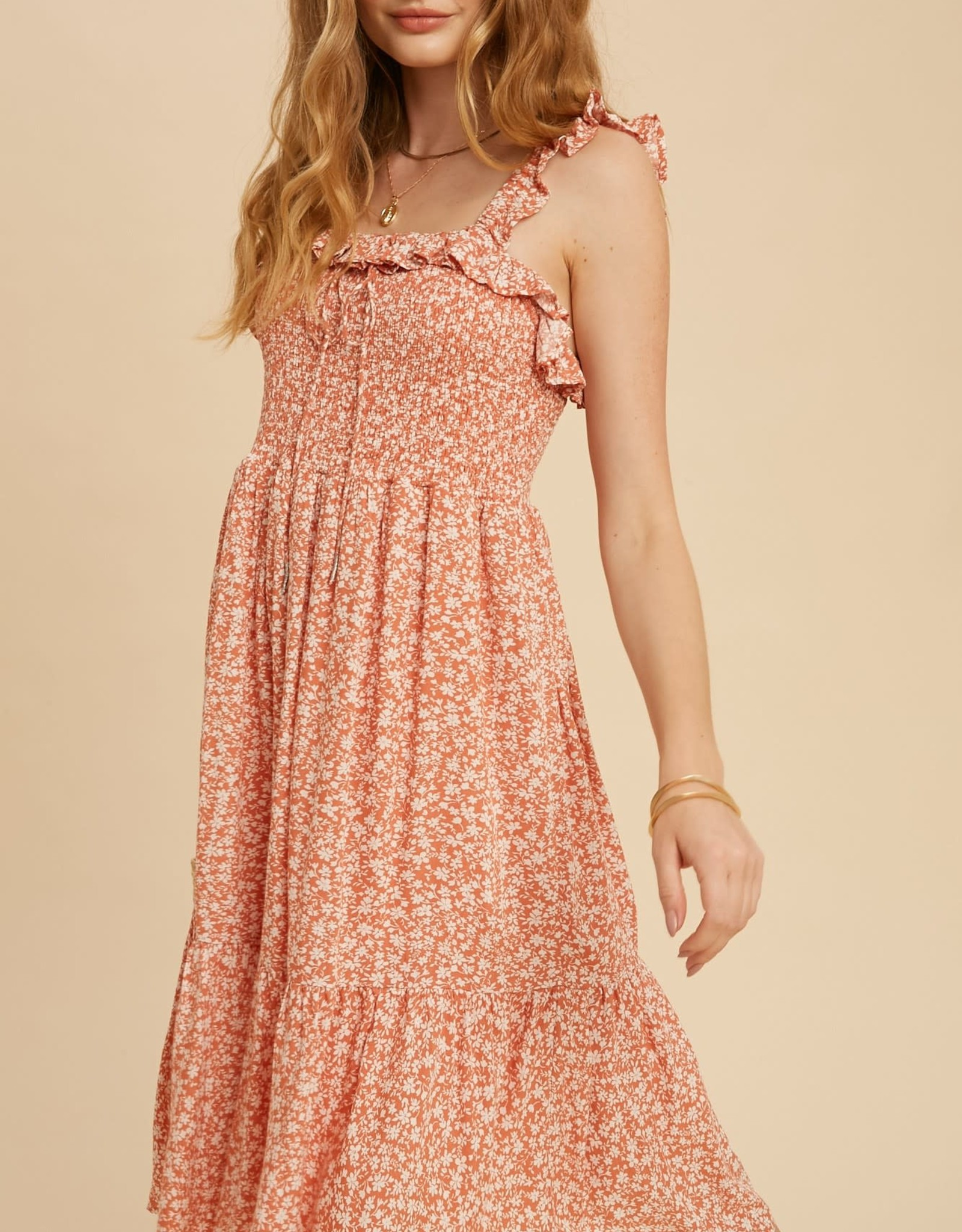 Miss Bliss Smocked Ruffle Strap Ditzy Floral Dress- Coral