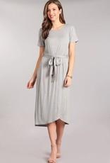 Miss Bliss Solid Knit Waist Tie SS Dress- H.Grey