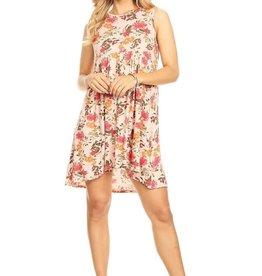 Miss Bliss Slvls Floral Knit Dress- Pink