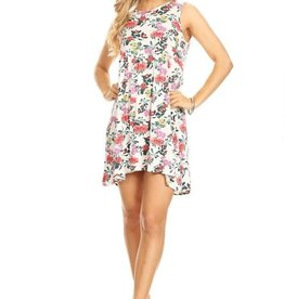 Miss Bliss Slvls Floral Knit Dress- White