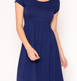 Miss Bliss Solid SS Babydoll Dress- Navy