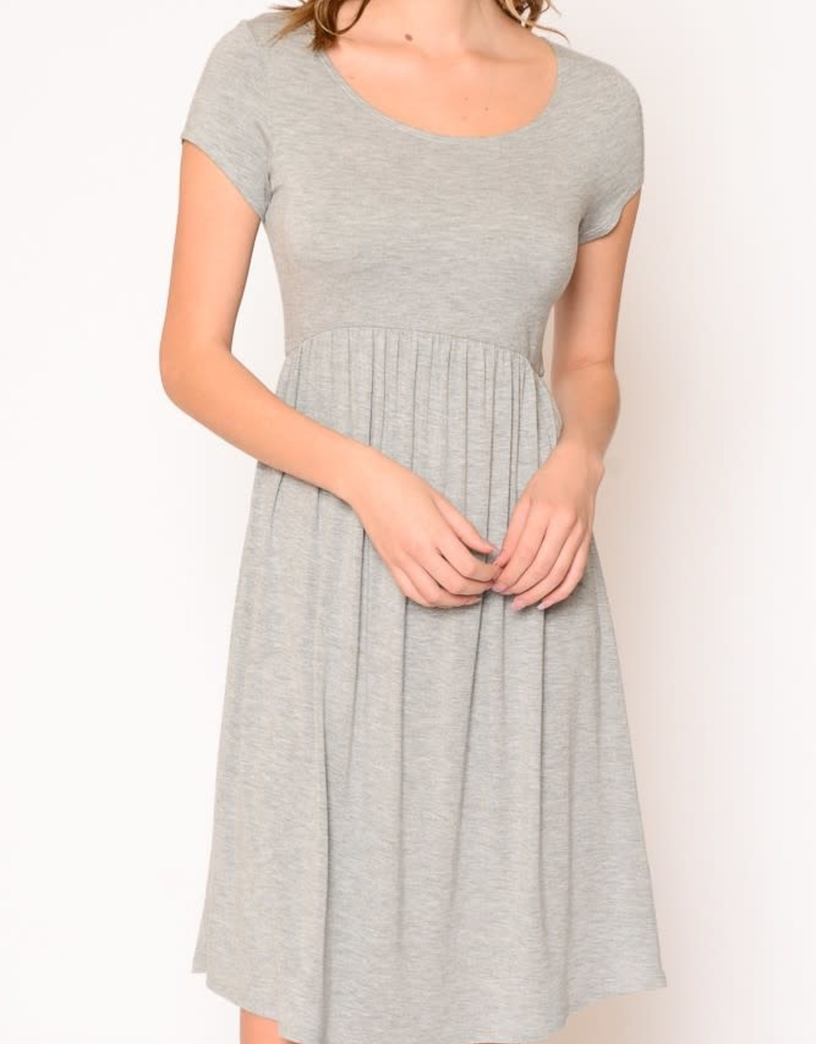 Miss Bliss Solid SS Babydoll Dress- H.Grey