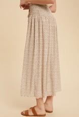 Miss Bliss Floral Print Smocked Midi Skirt-Creme