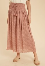 Miss Bliss Floral Print Smocked Midi Skirt-Dusty Mauve