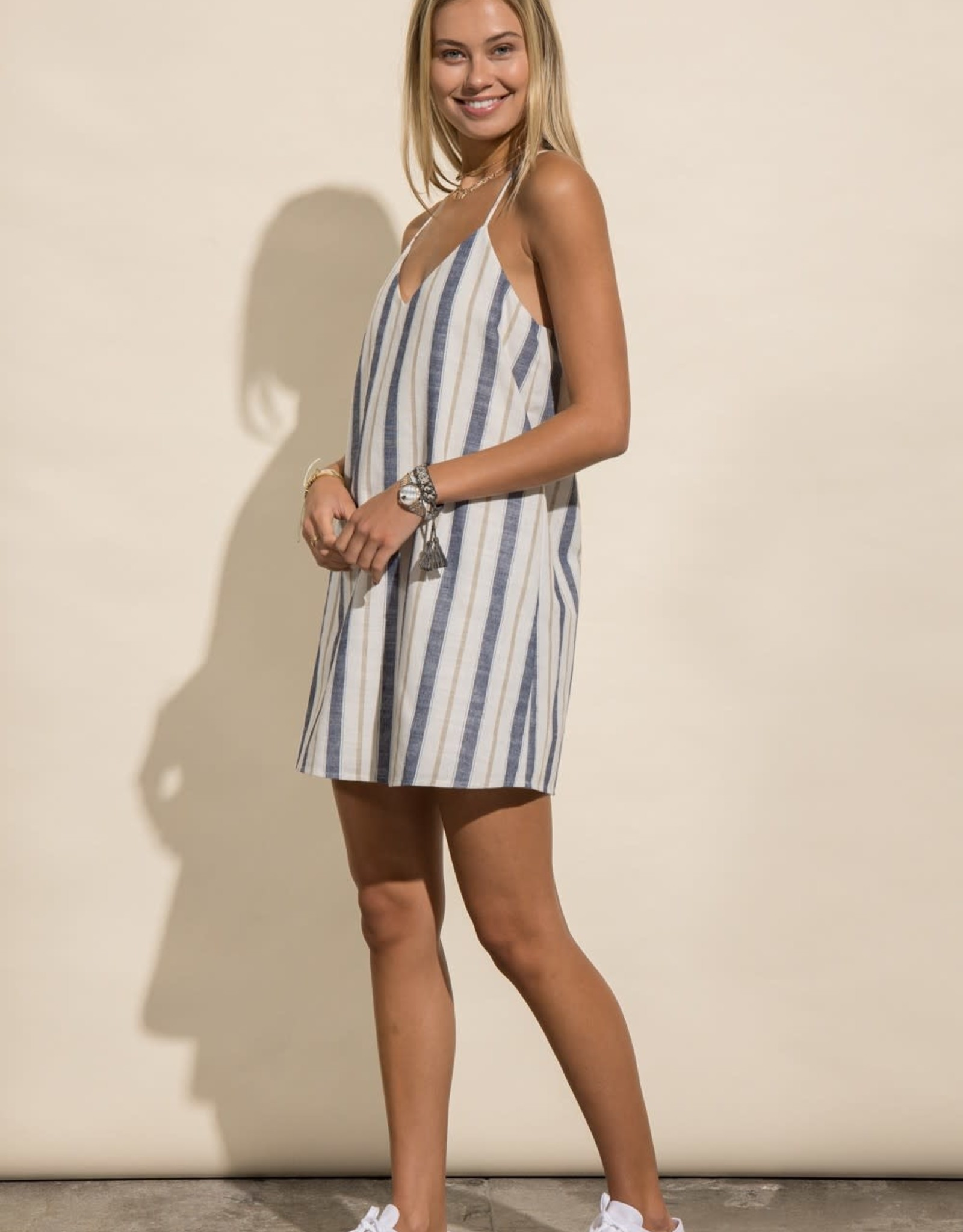 Miss Bliss Racerback Striped Dress-Navy/Taupe