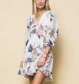 Miss Bliss Chiffon Floral Dress W Slv-Off White