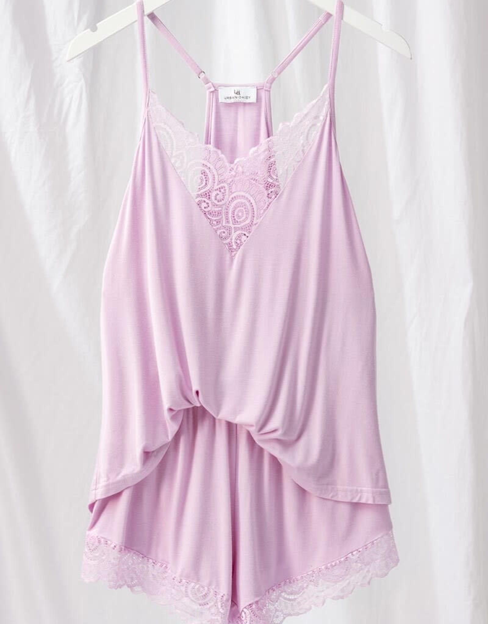 Miss Bliss Lace Cami Pajama Set- Lavender