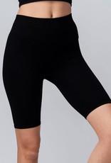 Miss Bliss Ribbed Knit Seamless Biker Shorts- Black