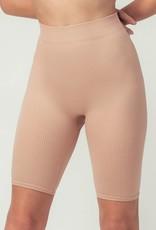 Miss Bliss Ribbed Knit Seamless Biker Shorts- Skin