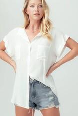 Miss Bliss Linen Oversized SS Button Up Top- Ivory