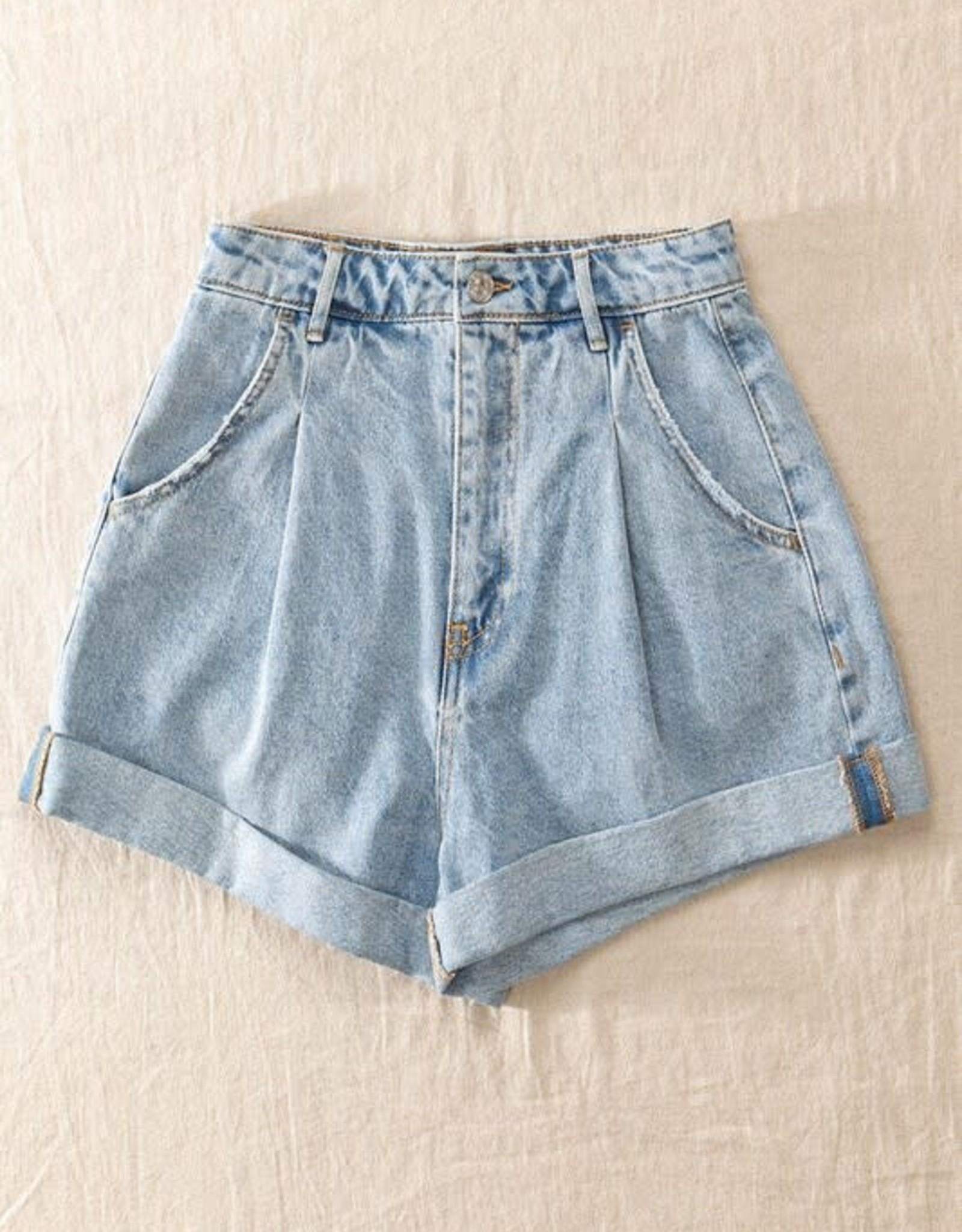 Miss Bliss Denim High Waist Folded Shorts- Light Blue