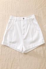 Miss Bliss Denim High Waist Folded Shorts- White