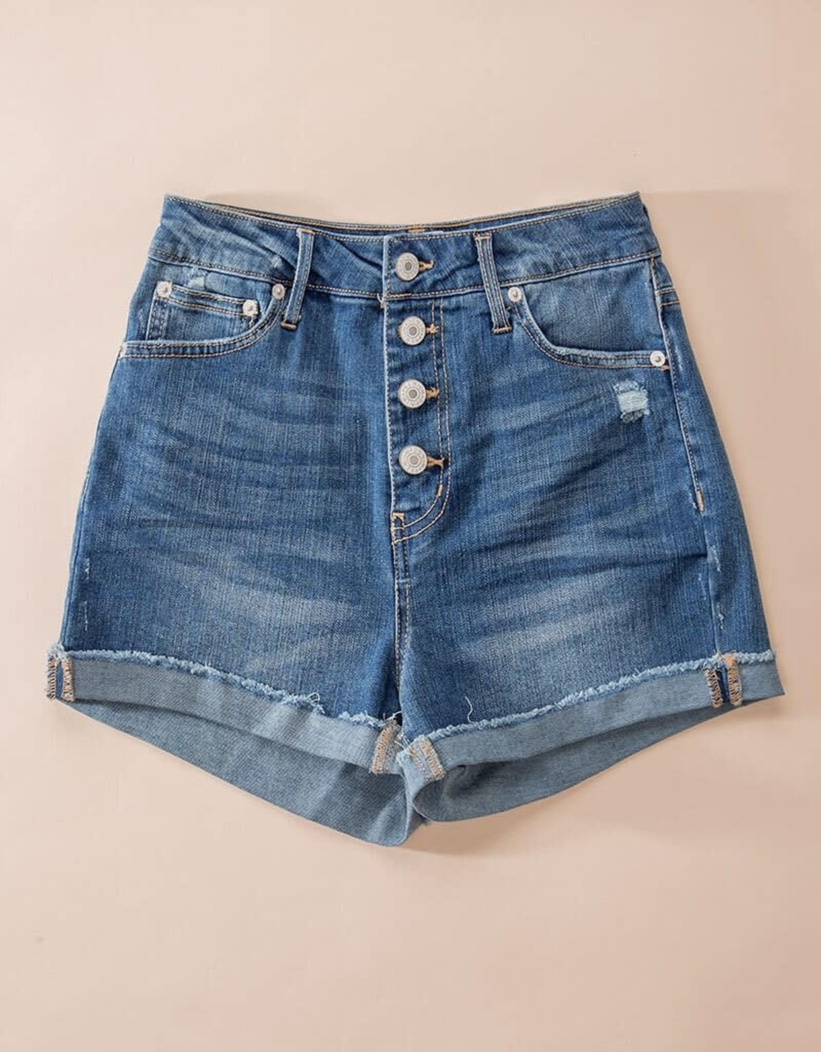 Miss Bliss Folded Hem Button Down Shorts- Blue