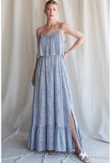 Miss Bliss Striped Tank Maxi Dress- Blue