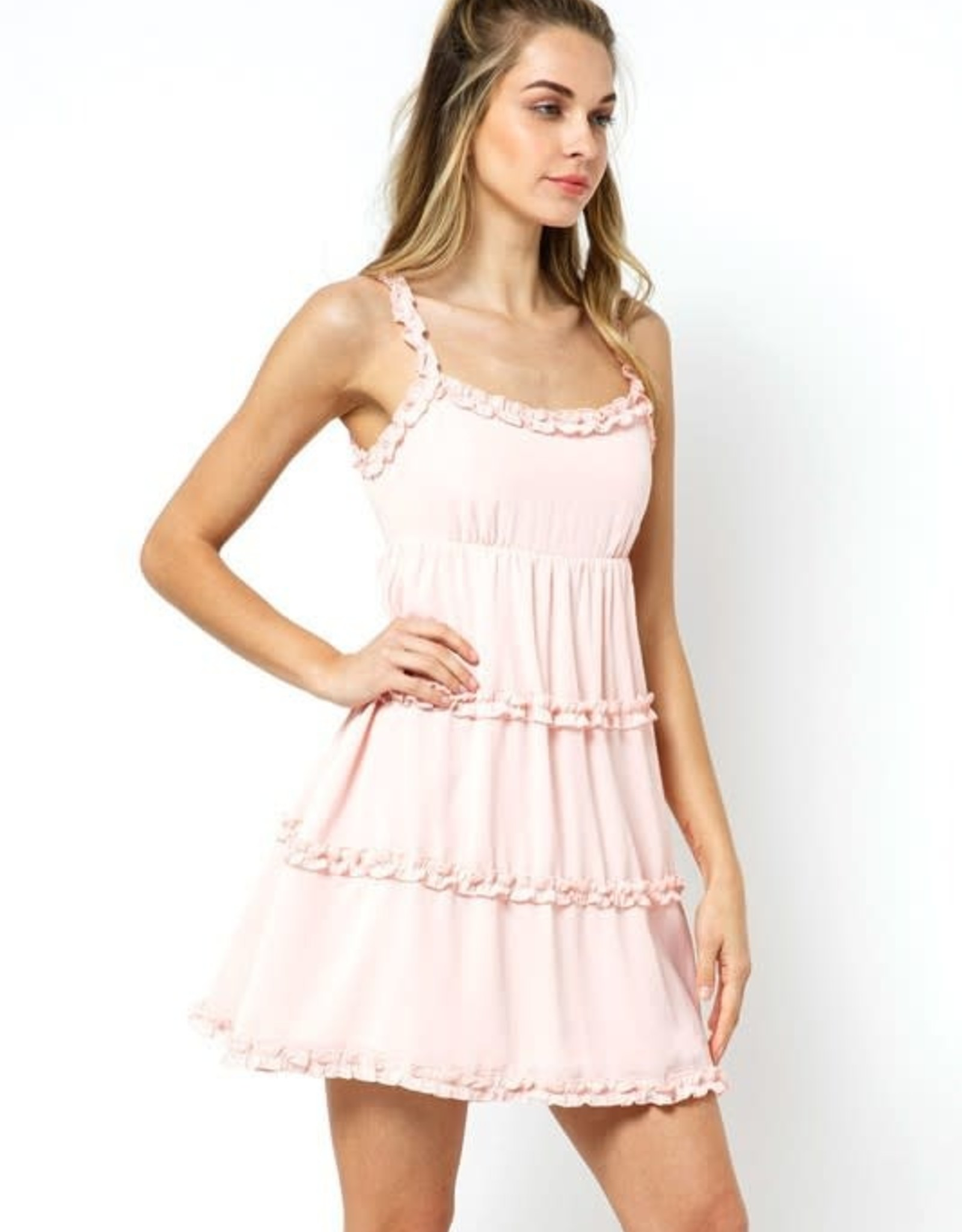 Miss Bliss Ruffled Trim Fit And Flare Dress- Blush