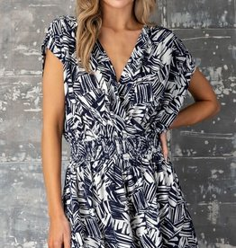 Miss Bliss Tropical Print Romper- Navy